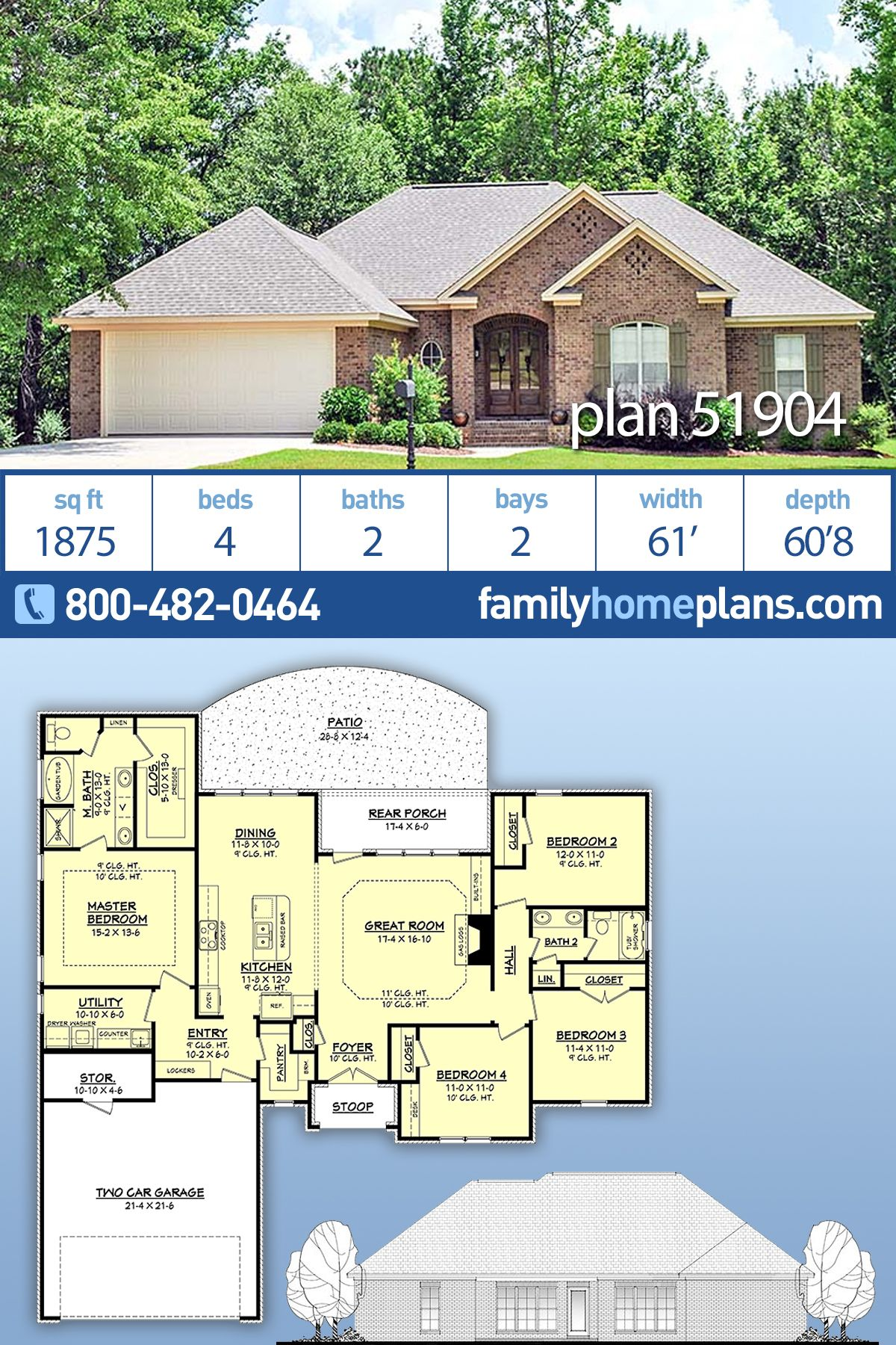 Traditional Style House Plan 51904 With 4 Bed 2 Bath 2 Car Garage Country Style House Plans House Plans Farmhouse Traditional Brick Home