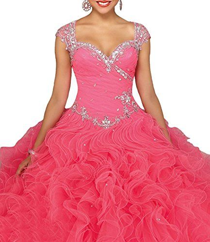Wallbridal Beaded Cap Sleeves Luxury Crystal Ruffled Organza Ball gown Quinceanera (2, Coral) Wallbridal http://www.amazon.com/dp/B01AEAWLXO/ref=cm_sw_r_pi_dp_kgO5wb130BDQR
