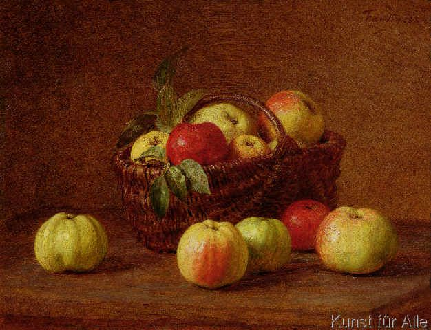 Ignace Henri Jean Fantin-Latour - Apples in a Basket and on a Table, 1888