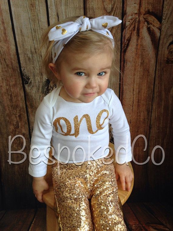 d763ddb44dc4 1st Birthday Outfit winter, Gold sequin pants. Gold One birthday shirt and  pants, first birthday winter, Baby girls first birthday