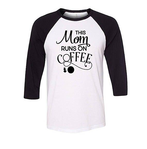 Mom Runs on Coffee Baseball Raglan Shirt Funny Mom Shirt