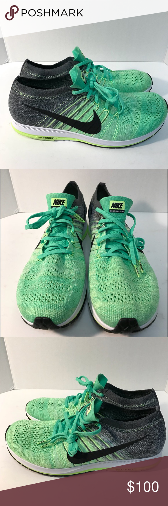 new product 0d2e0 12db7 Nike Zoom Flyknit Streak 6 Electro Green Size 13 Nike Zoom Flyknit Streak 6  Electro Green White Running Shoes Men s size 13 Nike ID  835994-303 Nike  Shoes ...