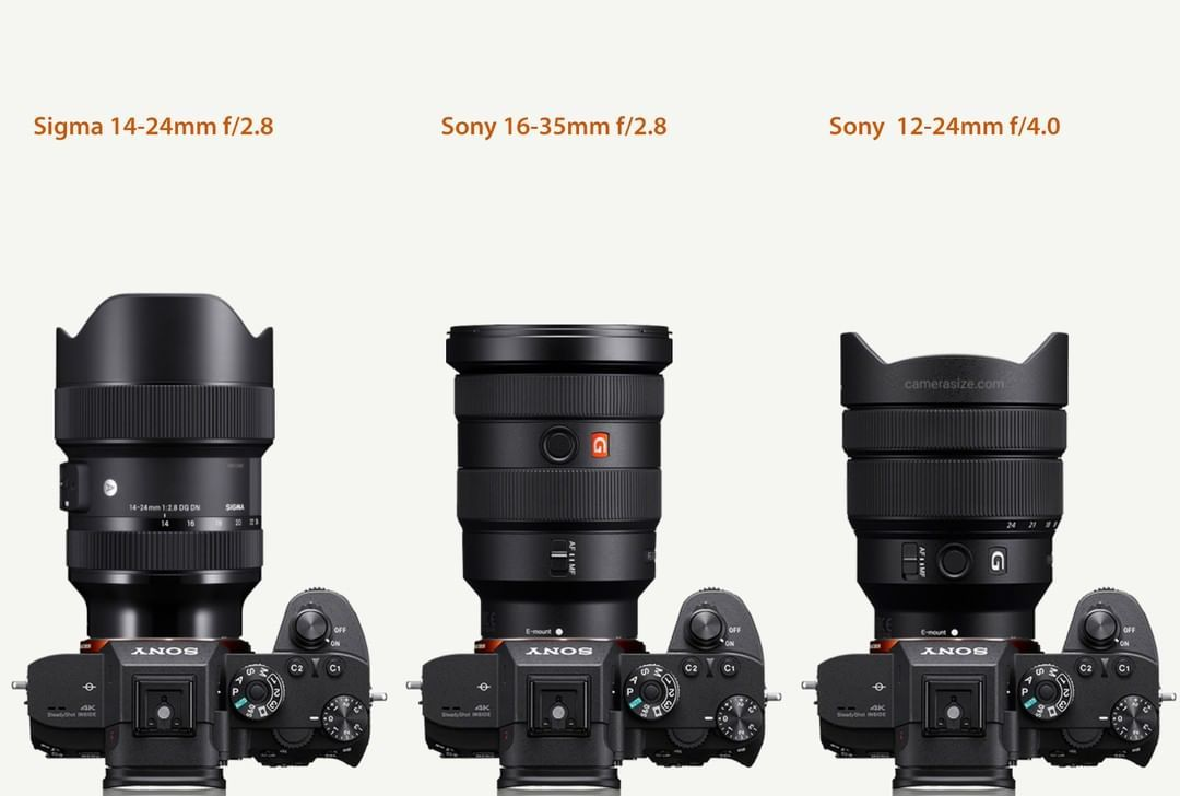 Size Comparison Between The New Sigma 14 24mm F 2 8 Sony 16 35mm F 2 8 And Sony 12 24mm F 4 0 Lenses Sigma Sigmalens