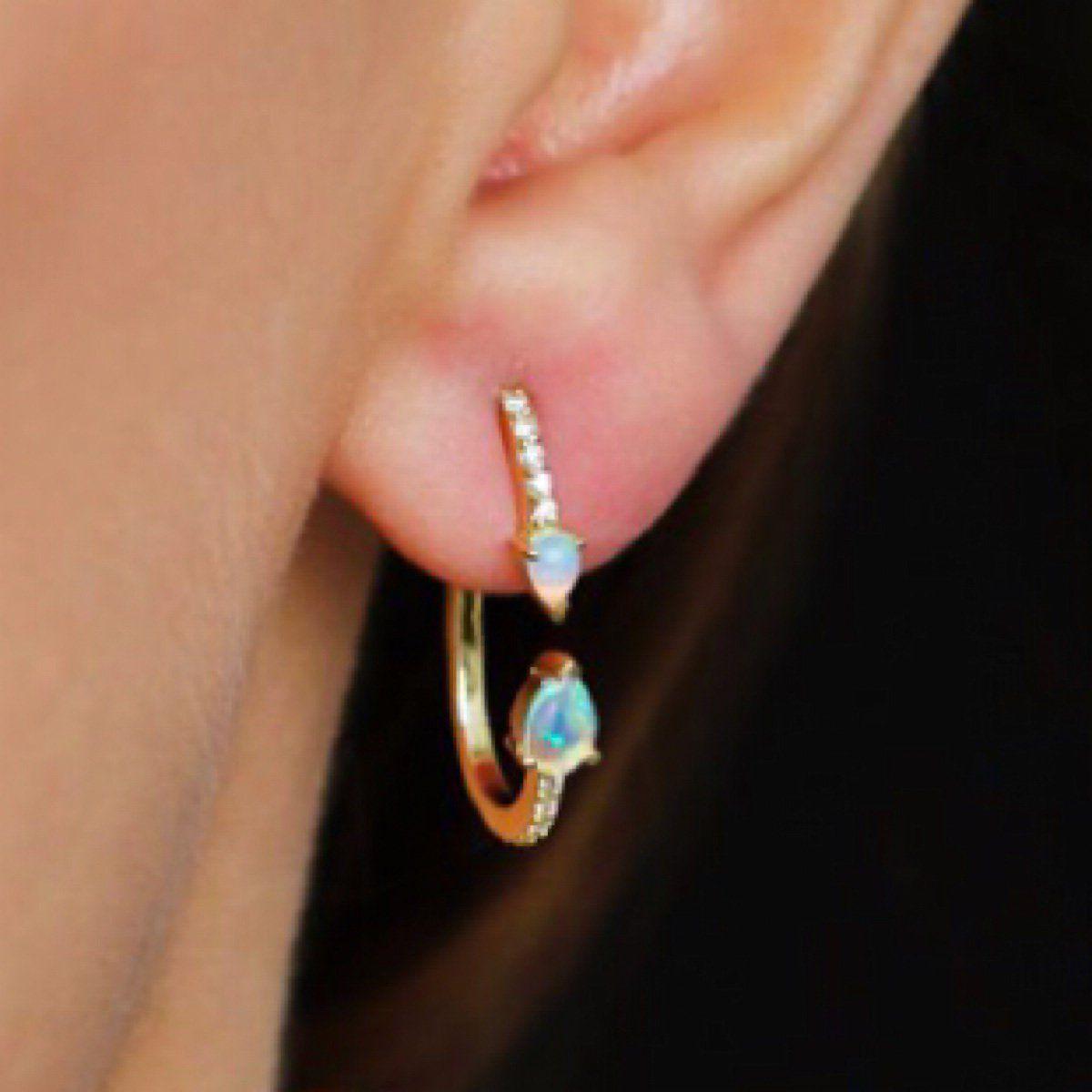 Mini Hoop Earrings   Opal Mini Hoop Earrings   Opal earrings, Gold ...