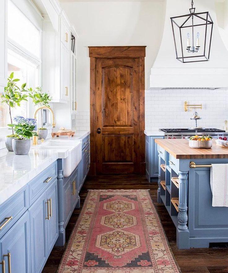 periwinkle cabinets, oushak rug, wood door   Modern ...