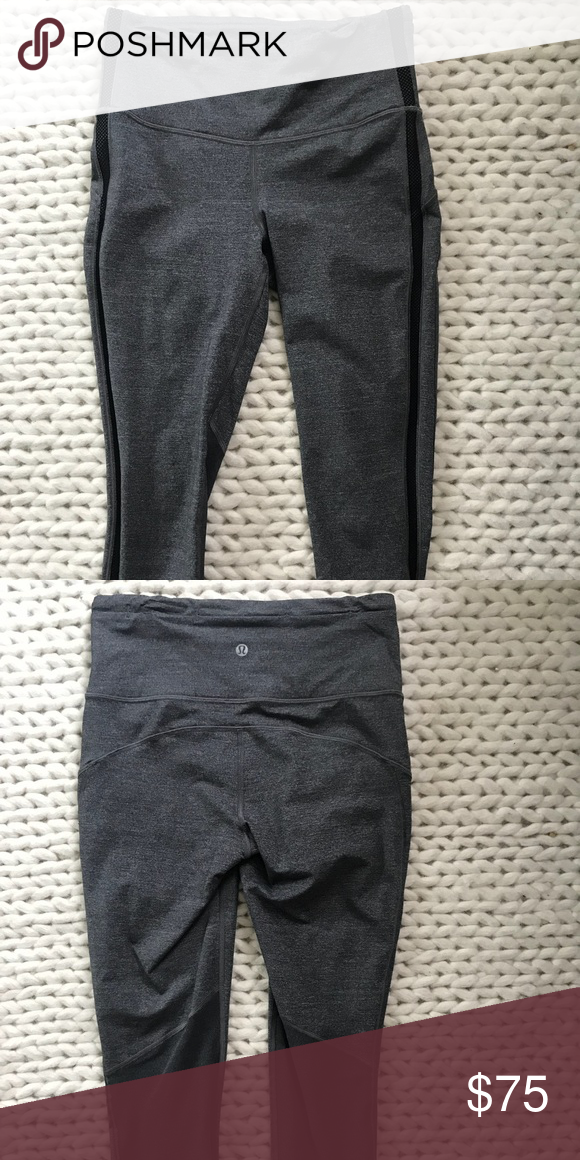 49195b92d388c0 cropped lulu lemon leggings dark gray w/ black mesh stripe like new lululemon  athletica Pants Leggings