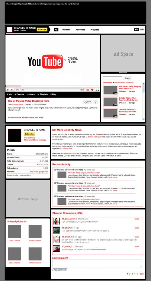 youtube channel template psd design pinterest template