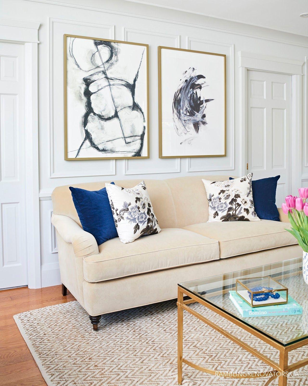 modern traditional living room, modern art, velvet English roll arm ...