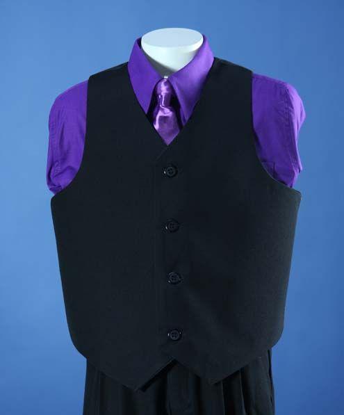 black suites purple vest and tie | Boys Black 5 Piece Suit with ...