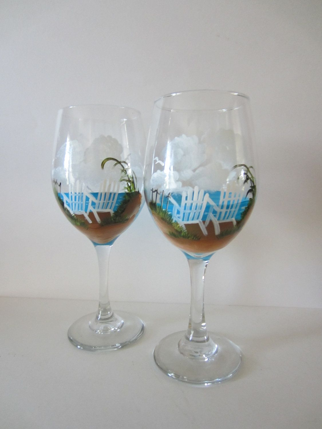2 Hand Painted **Beach Chair ** Wine Glasses | Painting ...