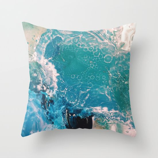 Blue Ink Ocean Throw Pillow - square decorative and abstract!