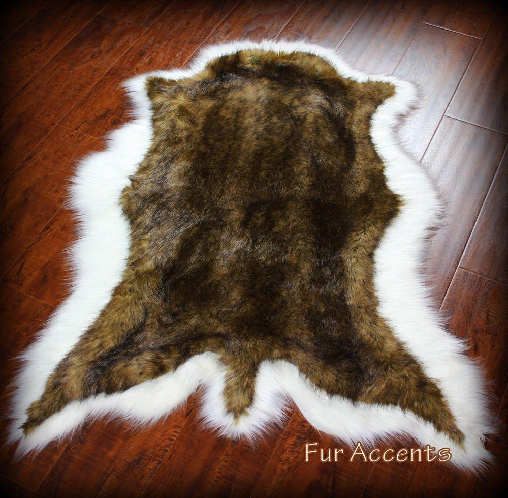 One Custom Fur Area Rug Brown And White Deer Skin Hide Pelt Designer Faux Plush Tail Design