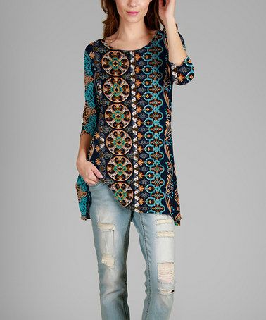 Another great find on #zulily! Blue & Green Arabesque Tunic - Plus by Simply Aster #zulilyfinds