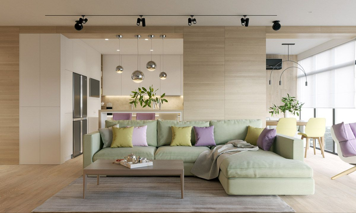 Pastel accents over expansive light wood in two modern homes