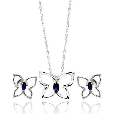 Blue Cubic Zirconia CZ .925 Ladies Sterling Silver Butterfly Necklace Pendant Earrings Jewelry Set 567-sts00424