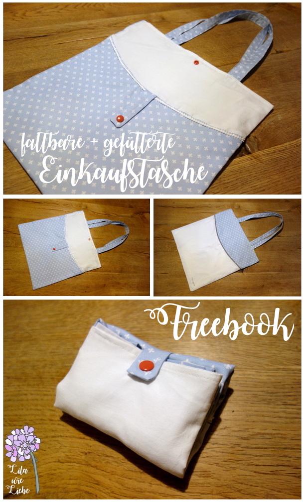 bolso de compras plegable con forro: BulliBag + Freebook – púrpura como el amor