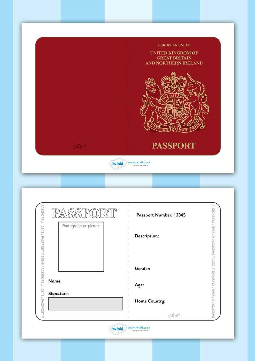 Passport Uk Printables Pinterest Passport Template Classroom