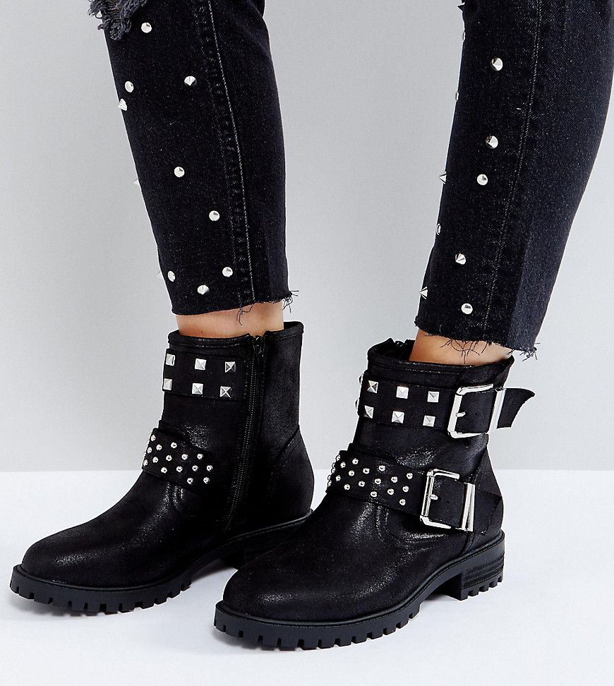 ASOS ACT UP Wide Fit Studded Biker - Black Moto Boots 41efc43b5e3