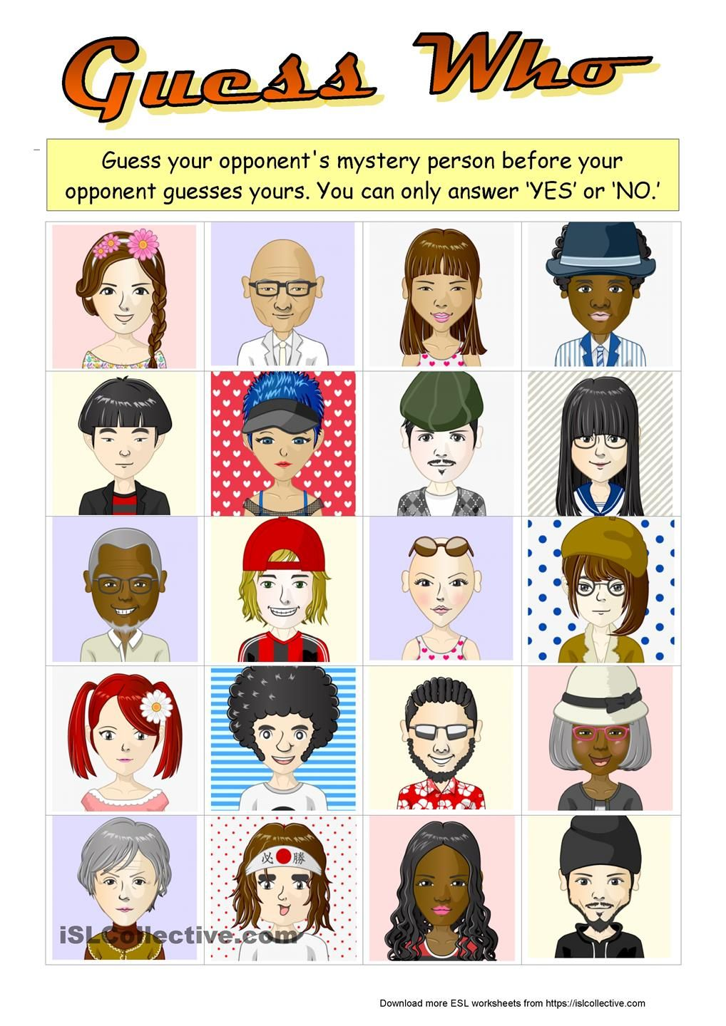 Guess Who boardgame with 20 characters ESL worksheets of