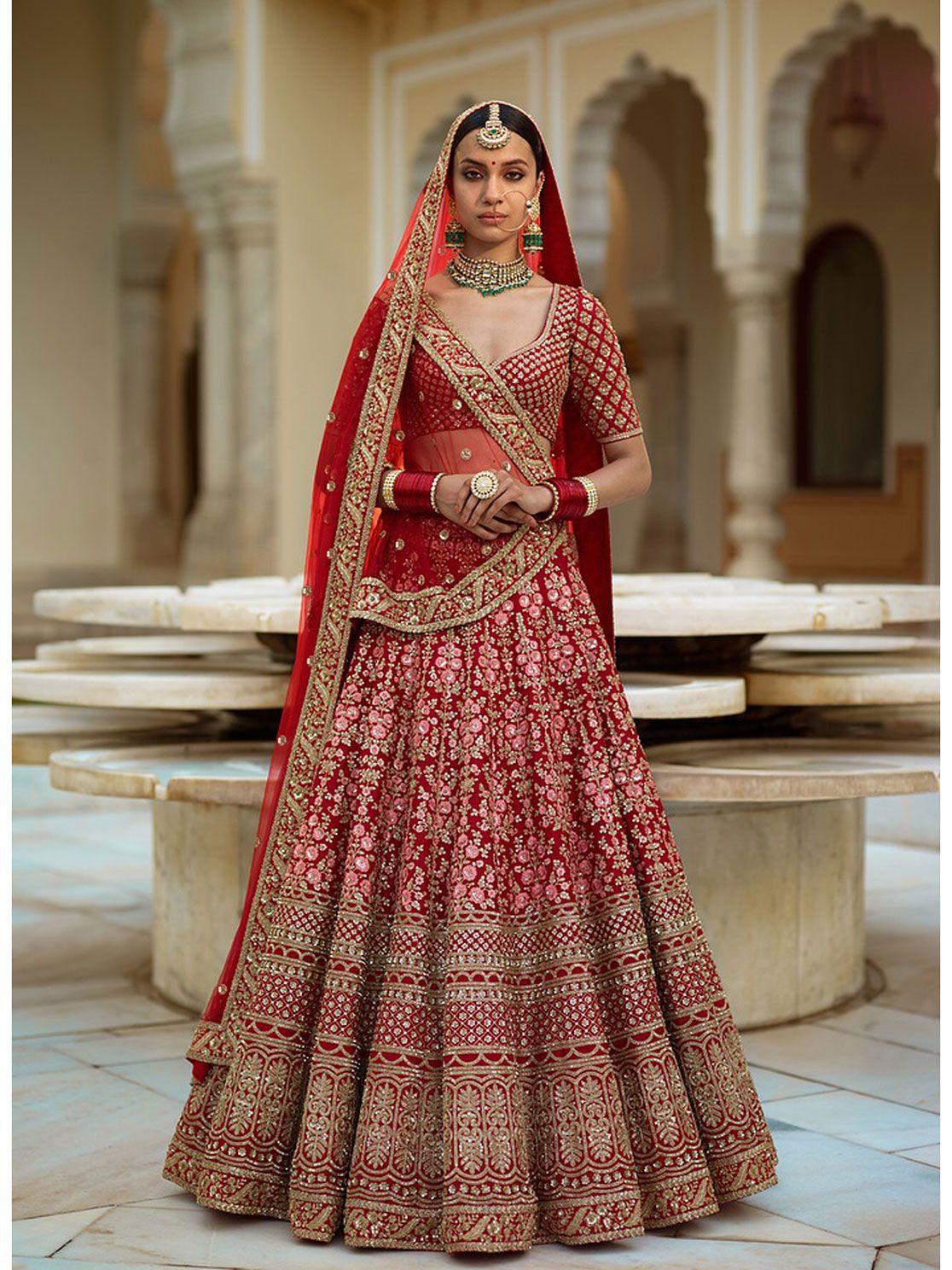 Rozy Fashion Floral Embroidery Raw Silk Bridal Lehenga Floral Embroidery Rawsilk Bridal Lehen Indian Bridal Outfits Indian Bridal Dress Indian Bridal Wear