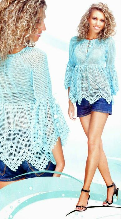 crochelinhasagulhas: Blusa azul em crochê filé