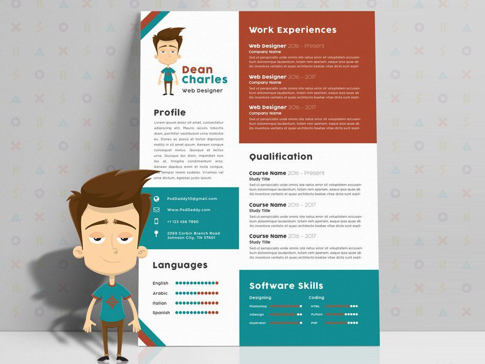 Free Creative Resume Template With Cartoon Style Creative Resume Template Free Graphic Design Resume Resume Design