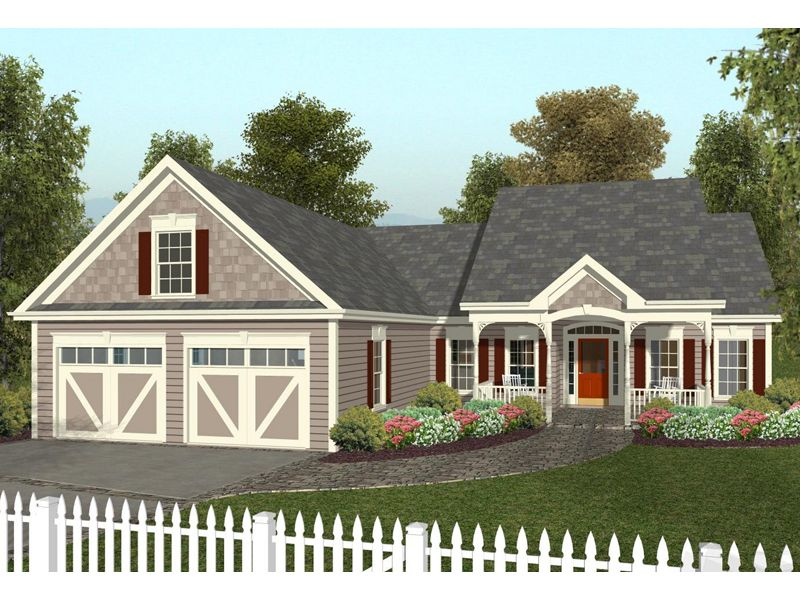 Martin house ranch home charming ranch home with covered for Garage plans with porch