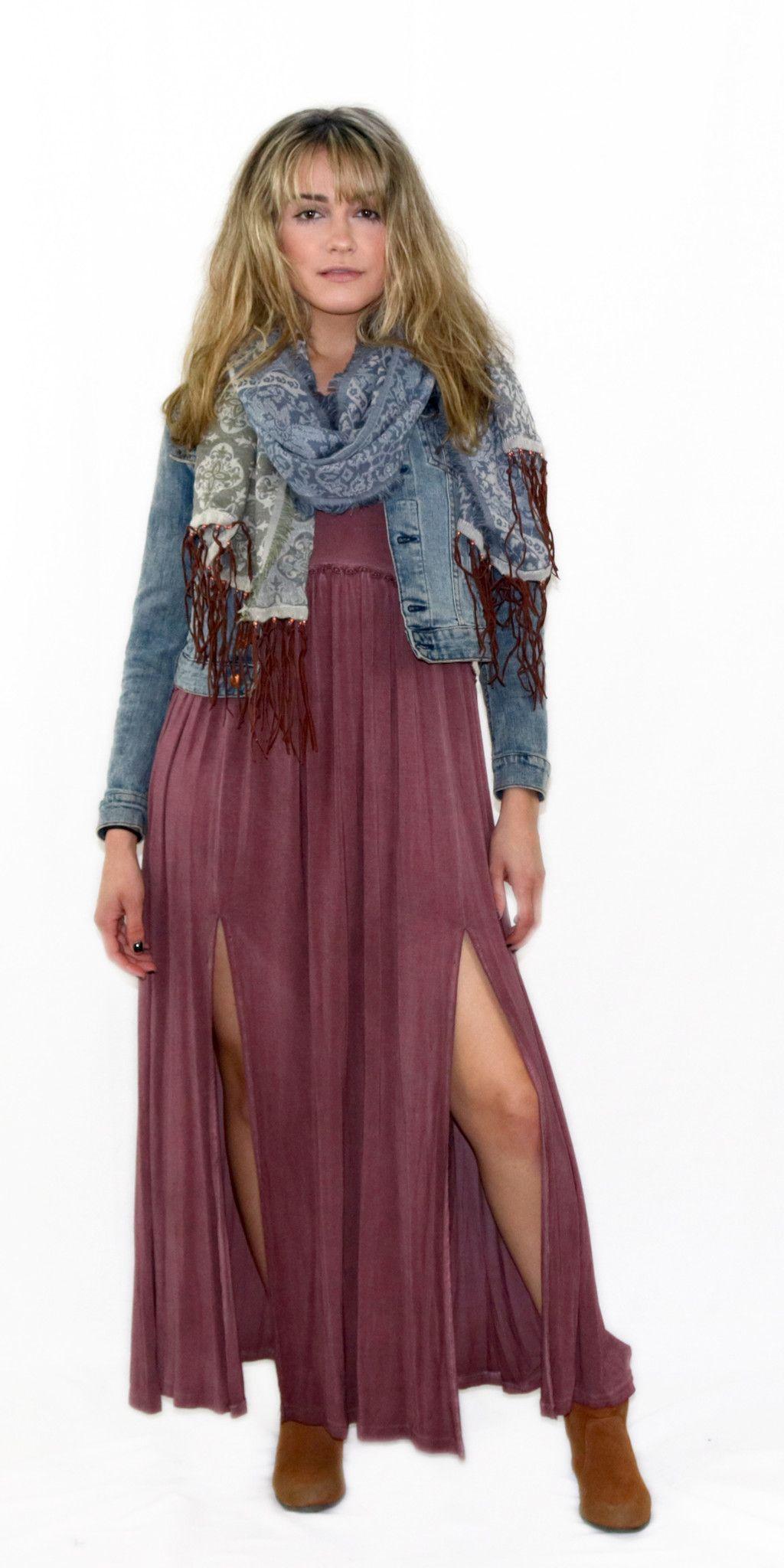 Floral Trim Maxi Dress
