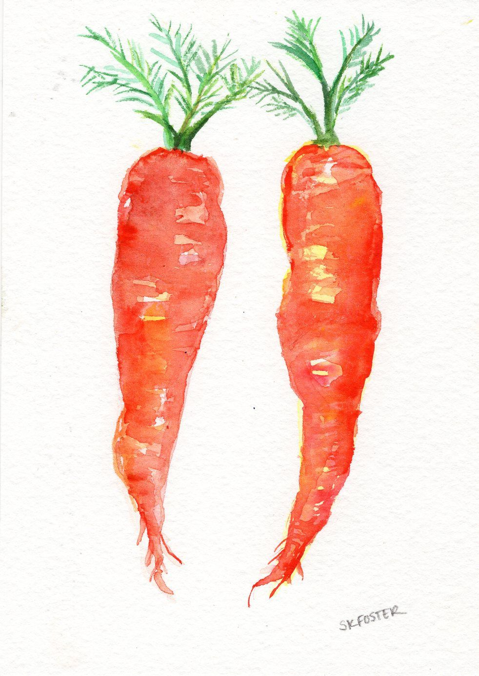 Carrots Watercolor Painting Original 5 X 7 In 2020 Vegetable
