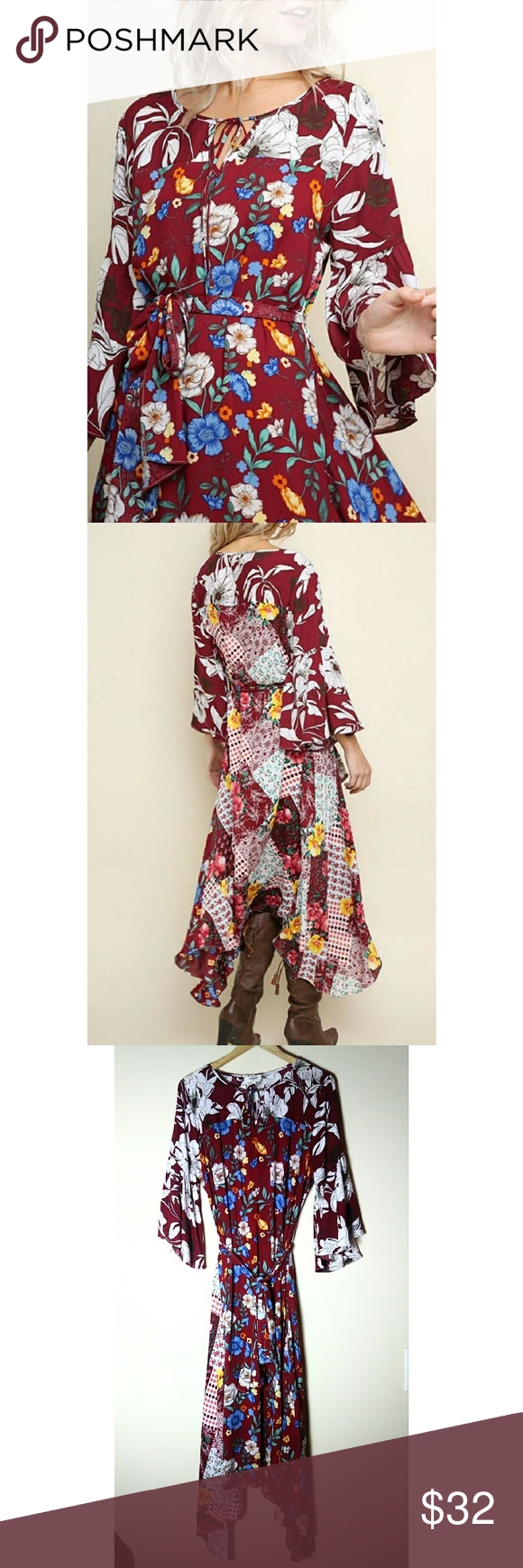 fe2fc9ee4b Umgee Floral Bell Sleeve Dress Umgee Mix Multi-Floral Print Bell Sleeve Asymmetrical  Maxi Dress with a Waist Tie. New with tags.