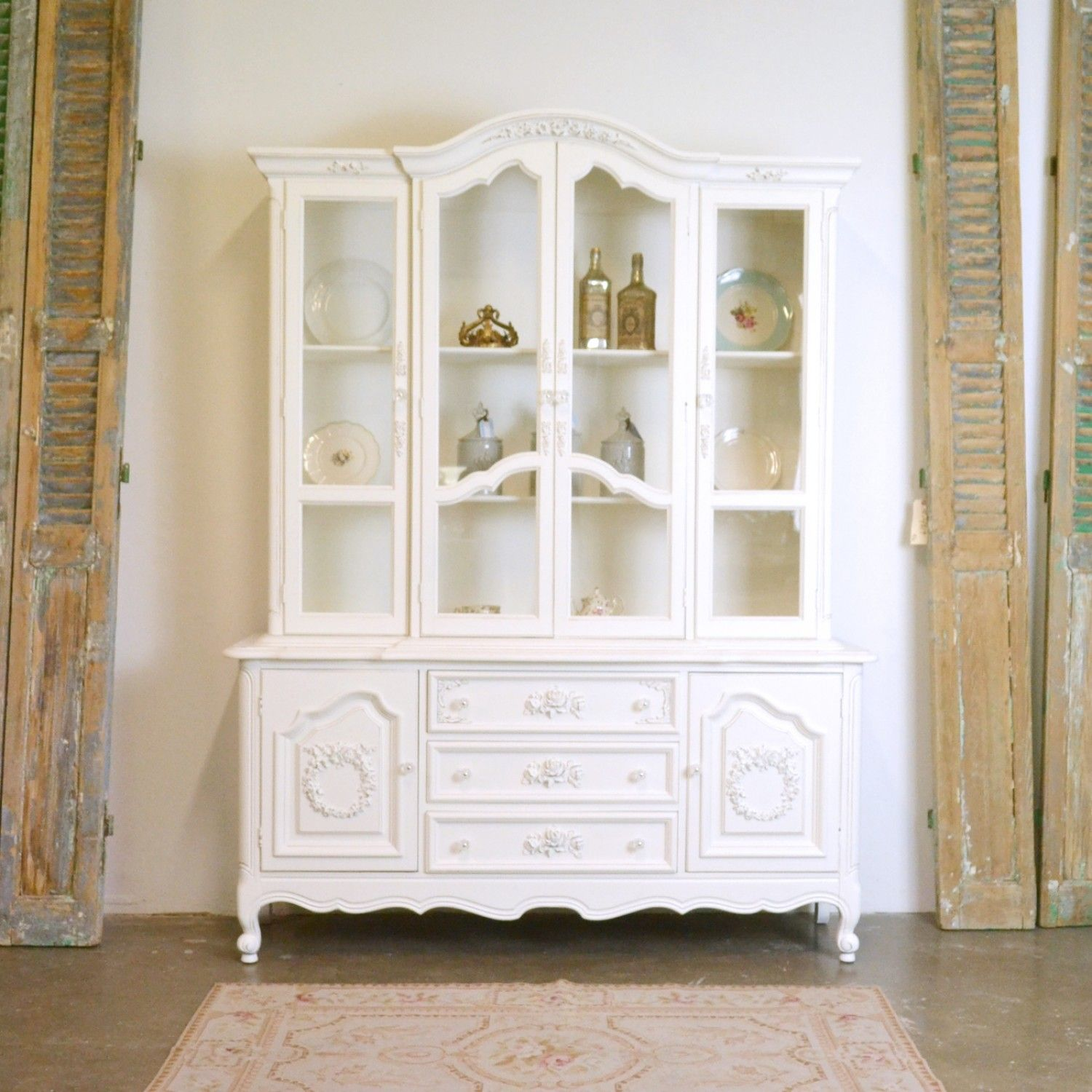 Large China Cabinet With Glass Doors 1195 00 Thebellacottage Shabbychic Glass Cabinet Doors Large China Cabinet China Cabinet