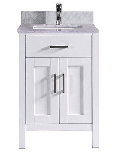 Cheap 24 Inch White Bathroom Vanity With Marble Sink Top