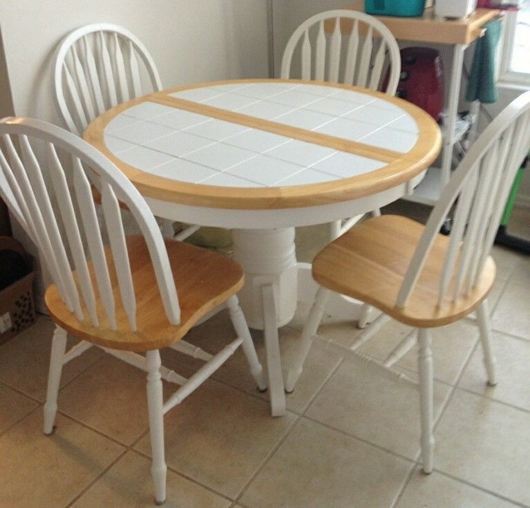 Round To Oval White Tile Wood Kitchen Dining Table With 4