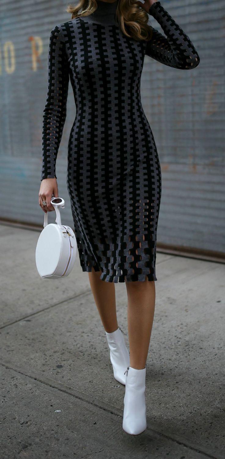 Black And Grey Geometric Turtleneck Sweater Dress White Pointy Toe Ankle Boots White Round Structured Bag White Retro Cat Ey Dresses Fashion Knit Midi Dress [ 1502 x 736 Pixel ]