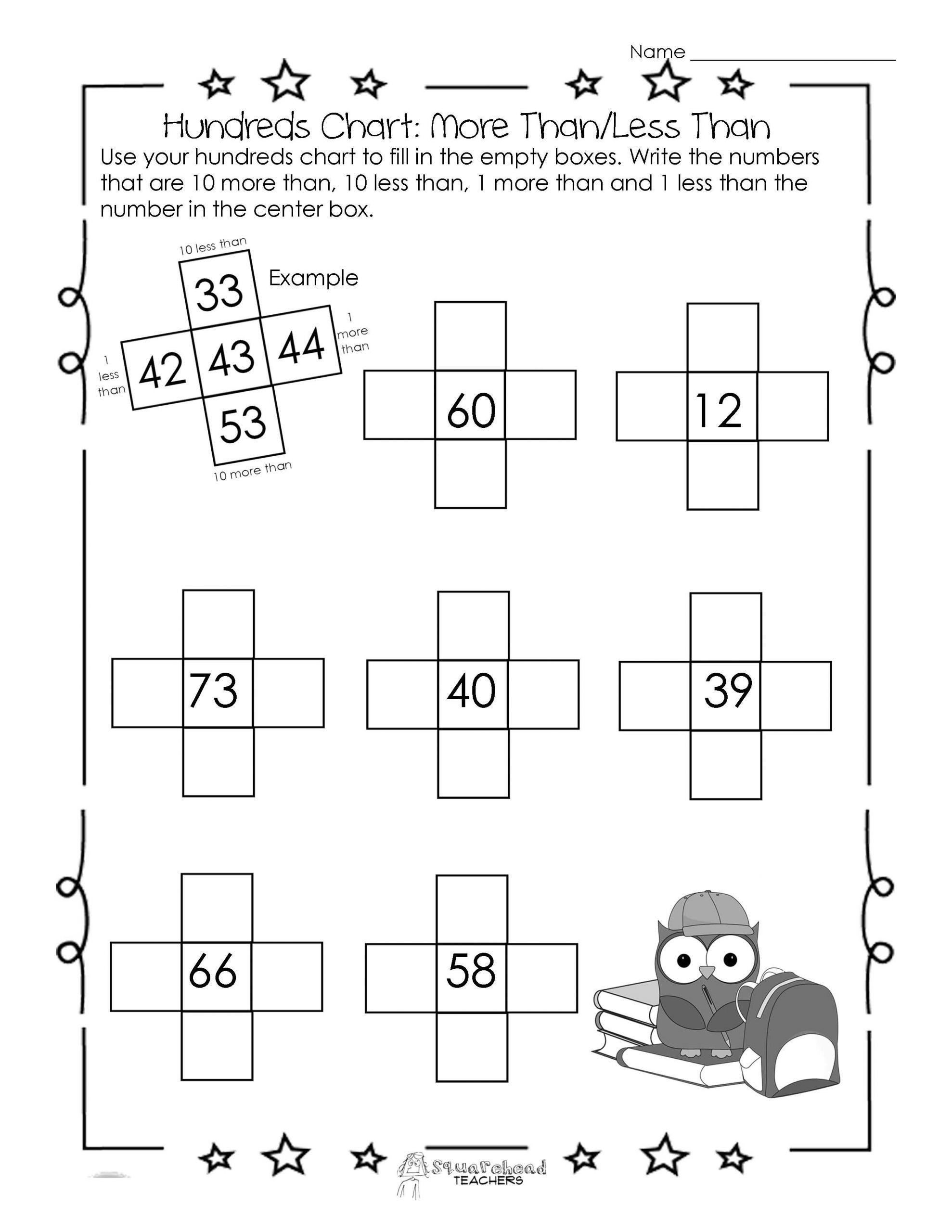 1 Worksheets 10 More Or 10 Less Printable Worksheets 10