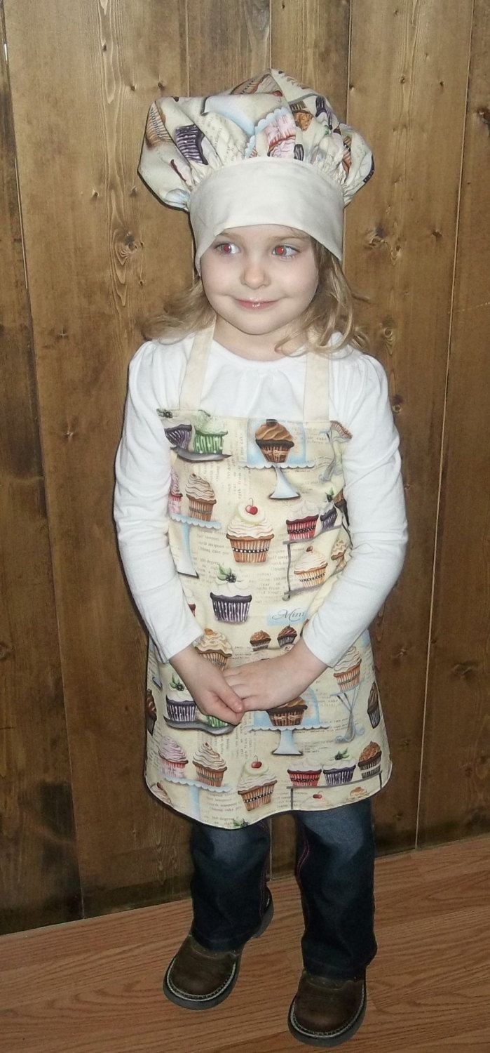 Child apron and Chef Hat size 4-5 by Prinilla on Etsy