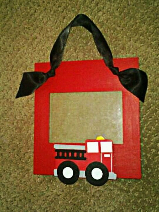 Fire truck photo frame, firetruck gift idea   I wrap stuff ...