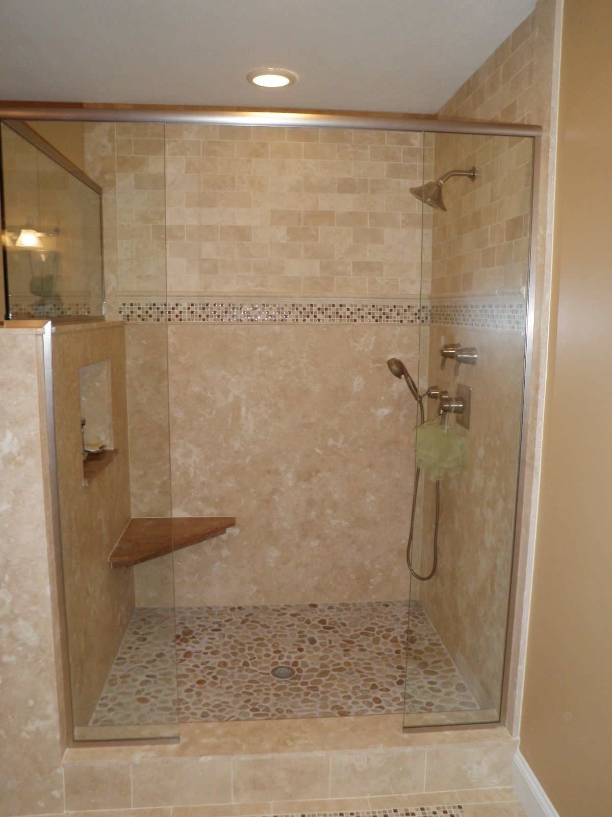 Option: solid surface on bottom; travertine above. Custom Tile ...