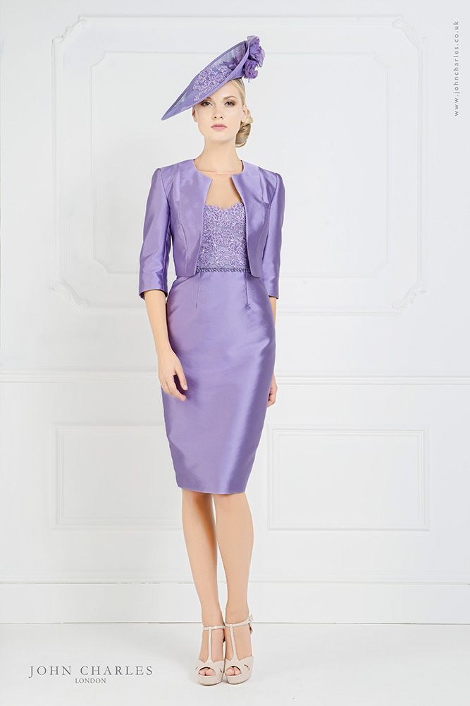 John Charles 25746 Dress & Jacket with Lace Bodice in Wisteria ...