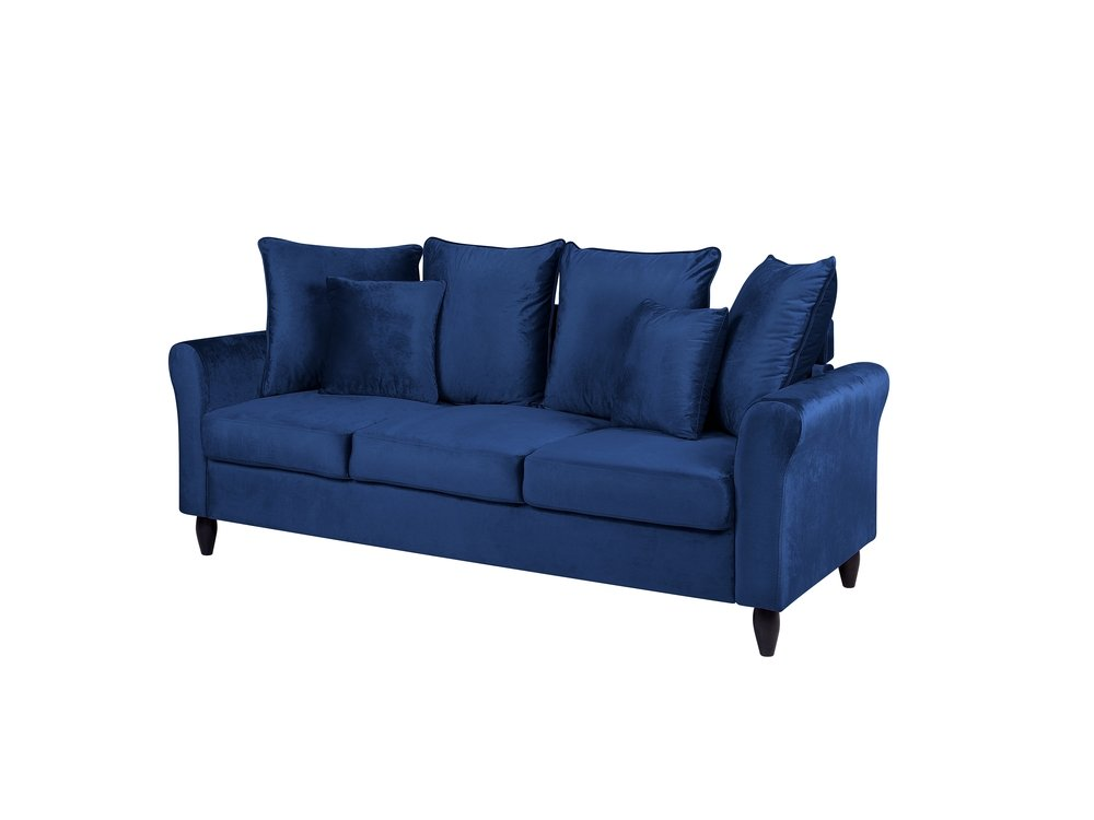 3 Seater Velvet Sofa Navy Blue Bornholm Navy Blue Sofa Velvet Sofa Sofa Colors