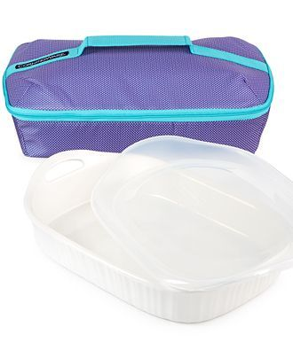 #CorningWare French White 3-Qt. Baker & Portable Bag - Cook, deliver, and serve, all in one dish. Boasting a classic ribbed design and a durable stoneware construction, this charming baker comes with an insulated carrier case so you can take your creations, hot or cold, to go while they maintain a steady temperature.