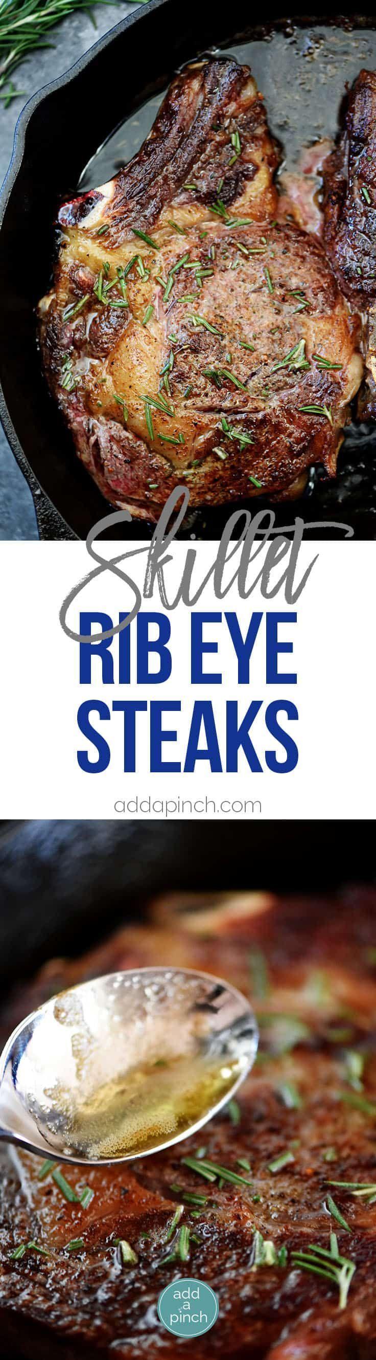 Skillet Rib Eye Steaks Recipe - Butter-basted skillet rib ...