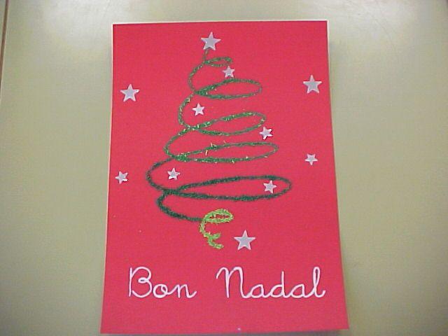 postal de nadal amb purpurina i gomets