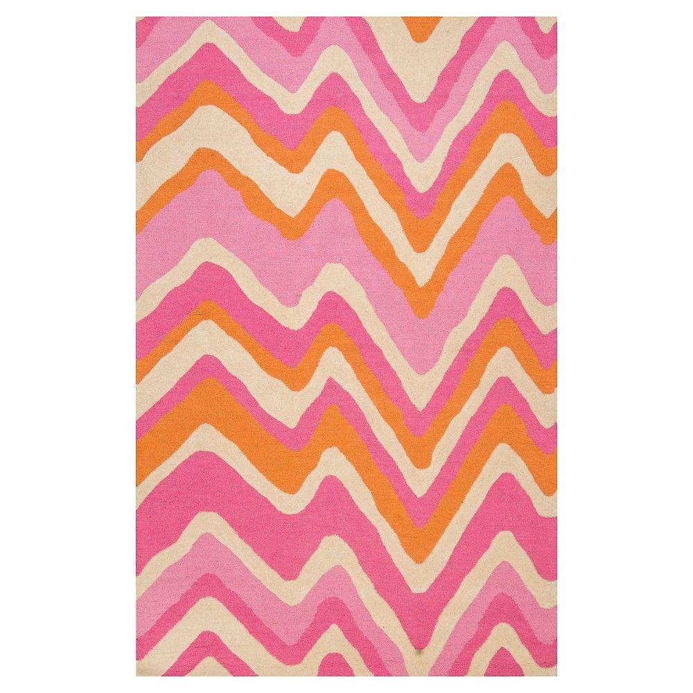 Nuloom Wool Chev Area Rug Pink 8 6 X11