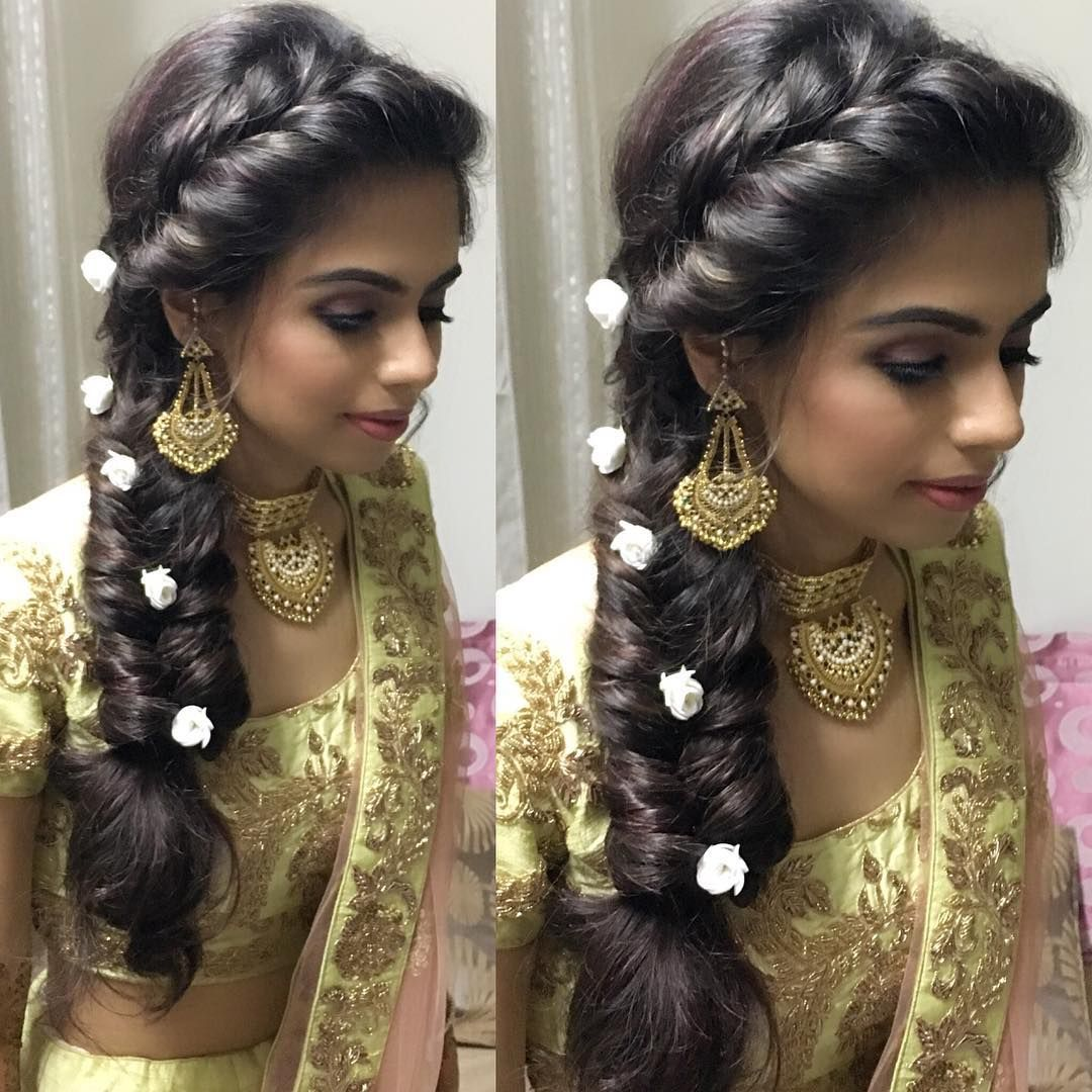 Bridetobe On Her Mehendi Function Hairby Ritikahairstylist For Krishna Makeupby The Lipstick Diary Engagement Hairstyles Hair Styles Long Hair Styles