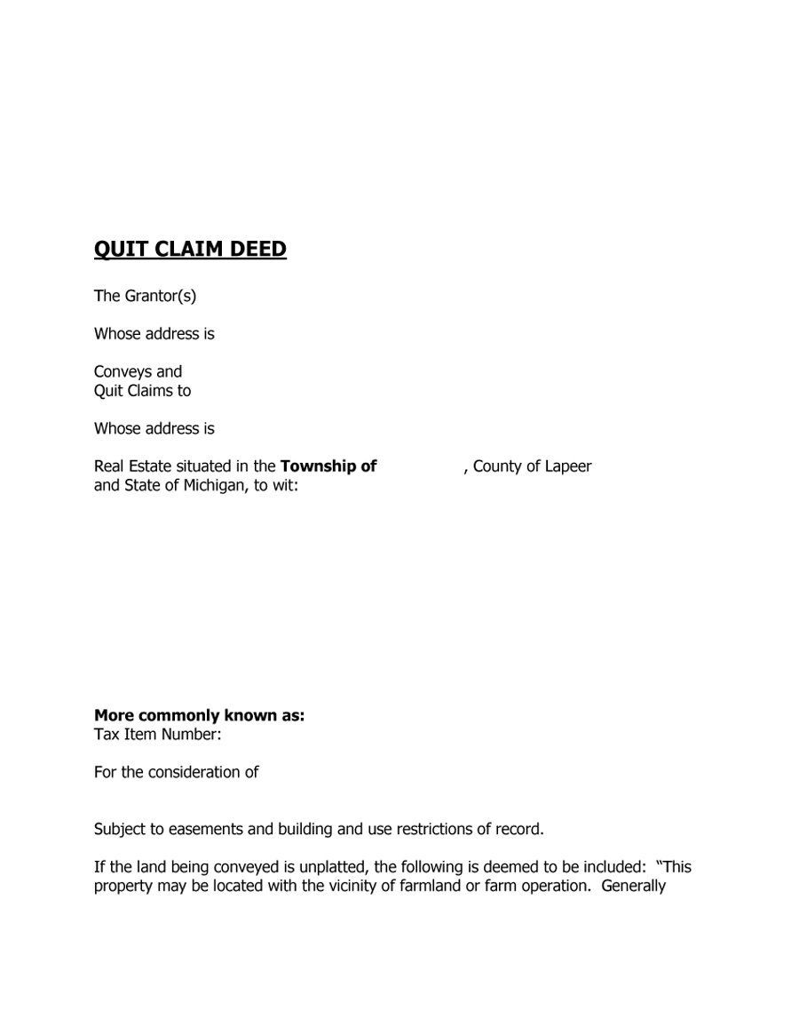 Free Quit Claim Deed Forms Amp Templates Template Lab  Home