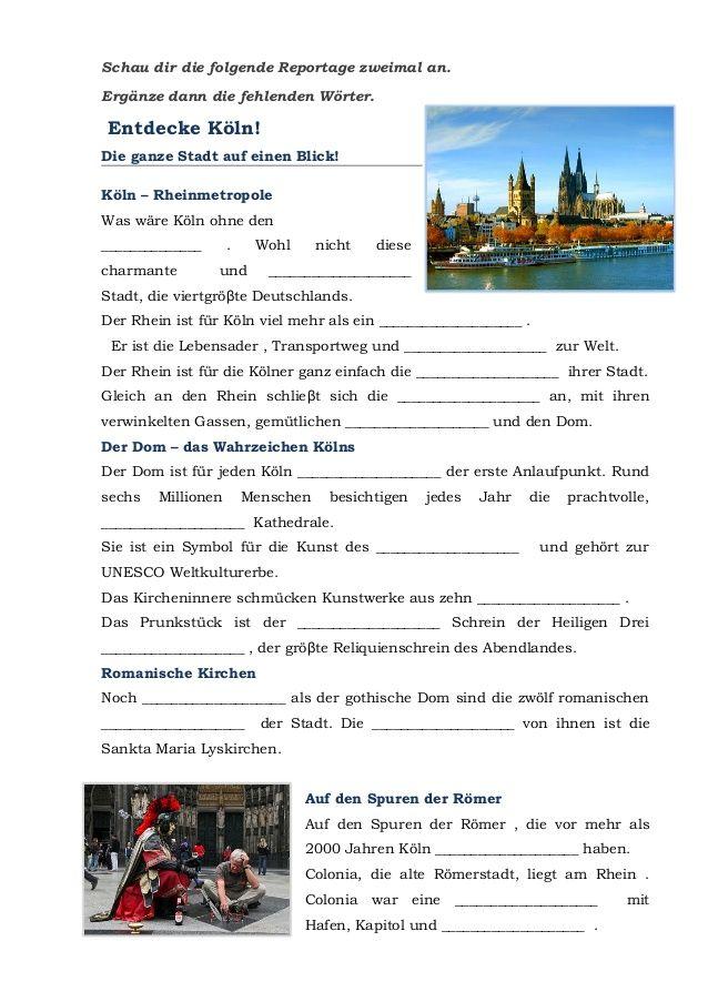 KÖLN entdecken - Arbeitsblatt zum gleichnamigen PPT   Koeln   Pinterest