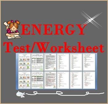 ENERGY Test/Worksheet   Science Worksheet   Worksheets ...