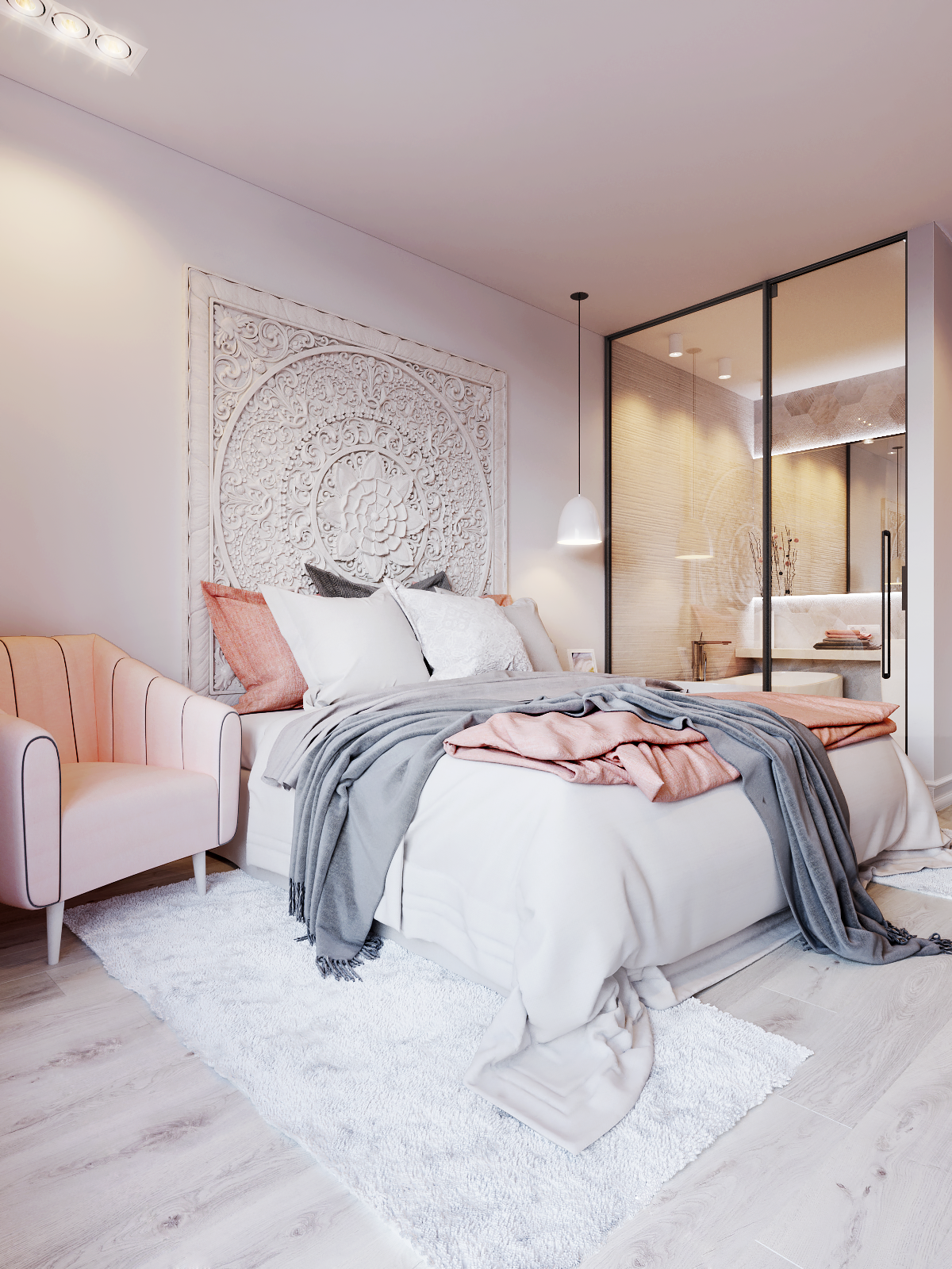 Pink  amp white on behance more blush grey bedroom wall small also interior pinterest rh