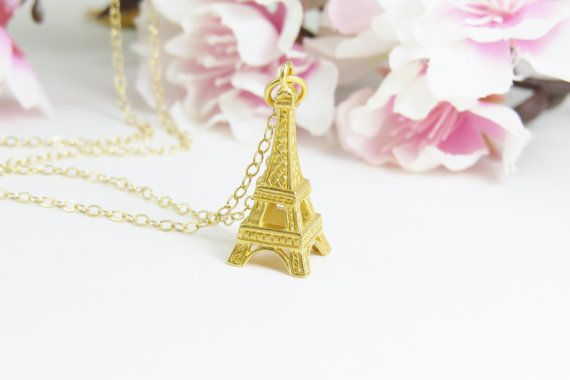 Gold Eiffel Tower Charm Necklace Necklace Paris by Keepitclose, $42.00